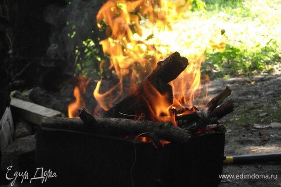 Для люля-кебаба нам понадобятся жаркие, долго не прогорающие угли. Если Вы готовите его на природе, то поставьте фарш в холодную воду или ведро с холодной водой. Углей нам понадобиться очень много. Дрова подойдут буковые, вишневые, дубовые — они хорошо держат температуру.