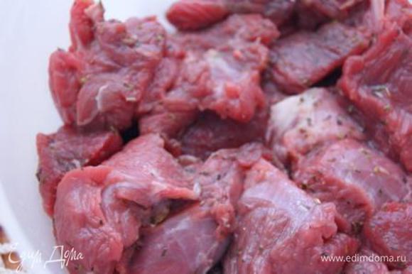 Мясо порезать крупными кусочками, натереть солью и смесью прованских трав, сбрызнуть оливковым маслом, оставить в холодильнике на час.