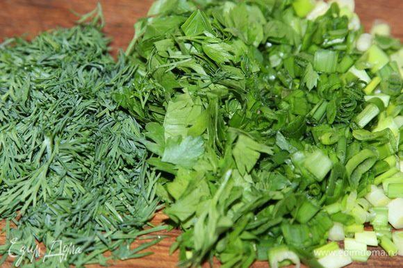 Нарезаем зелень, у меня зеленый лук, петрушка и укроп.