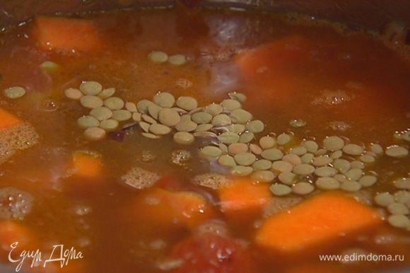 Всыпать чечевицу, залить все горячим бульоном и варить суп до готовности чечевицы.