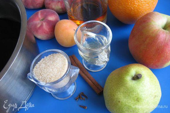 Приготовить все необходимое. Прошу обратить внимание: брала персики инжирные, плоские. Они небольшие. Если будите использовать другие (большие по размеру), то берите 1/2 штуки.