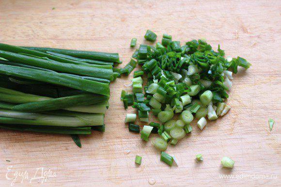 Помыть и обсушить зелень. Мелко порубить лук...