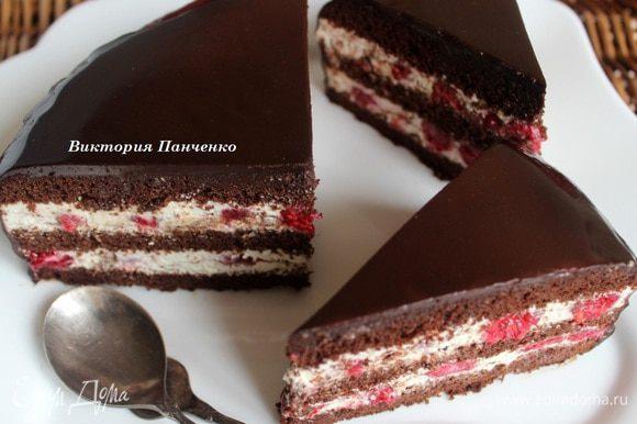 """А это - вкуснейший торт от Лены (Elen@Lat) http://www.edimdoma.ru/retsepty/67534-tort-shokolad-kofe-abrikos Правда, в моем исполнении он называется """"Шоколад, кофе, малина"""""""