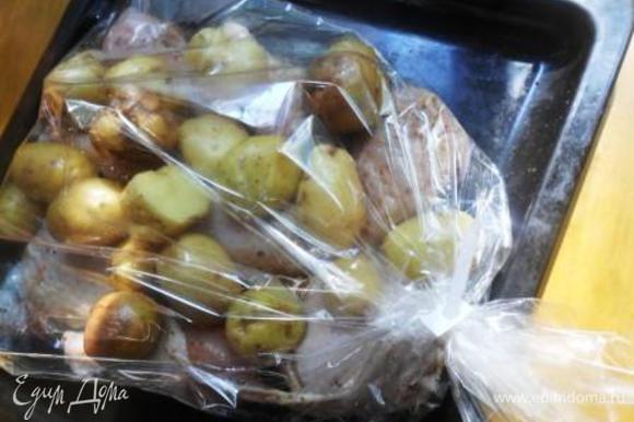 Выложить картофель на курицу в пакет для запекания и поместить в разогретую духовку. Запекать около часа при 200С.