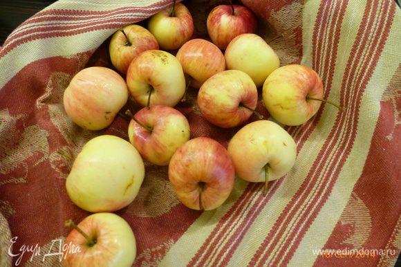 Дачные мелкие яблочки моем и разрезаем на половинки. Мне понадобилось 7 штук.