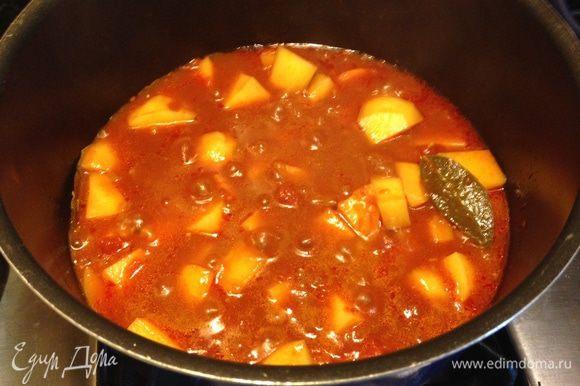 Добавить томаты, бульон (можно овощной или рыбный, какой вам больше нравится), порезанный картофель и довести до кипения. Затем убавить огонь и готовить минут 20 пока не будет готов картофель и соус слегка не загустеет. В оригинале рекомендуется готовить в открытом виде, но я всё-таки прикрыла наполовину крышкой.
