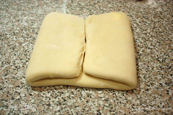 Затем переложить тесто на присыпанную мукой поверхность и раскатать до 20х45 см.Сложить в 4 слоя: сначала от краёв к центру,