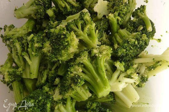 Брокколи разобрать на соцветия и отварить в воде или на пару минут 6. Остудить и нарезать.