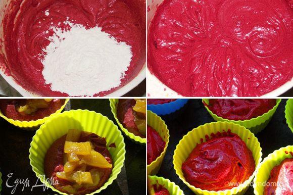 Оставшиеся сухие ингредиенты смешать вместе и просеять. Постепенно на медленной скорости поочерёдно в три приема добавить сухие ингредиенты и в два смесь кефира и масла. Цвет у теста должен быть не красным, не розовым и не бледно розовым. Цвет должен быть бордовым! Если не так, то добавьте побольше краски. Равномерно заполнить тестом подготовленные формочки, добавить тыкву и снова накрыть тестом. Выпекать в течение примерно 17 — 20 минут. Проверить на готовность можно зубочисткой. Вставленная в кекс, она выходит чистая. Даем кексам полностью остыть.
