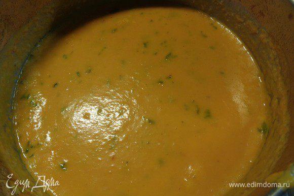 Как закипит - добавить порезанный тимьян и выключить. Наш суп готов.