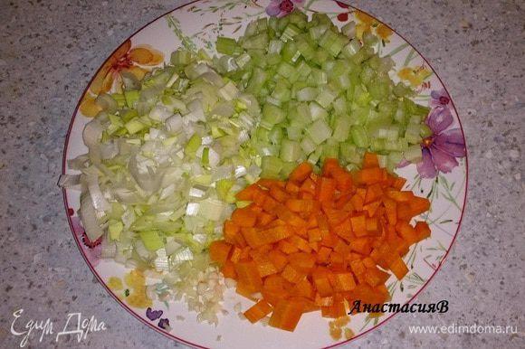 Лук, веточки сельдерея, морковь, чеснок промыть, почистить и мелко порезать.