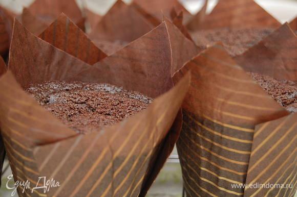 Капсулы для капкейков вставить в силиконовые формочки. Заполнить тестом на 2/3. Выпекать при температуре 180С около 22-25 минут. Готовность – сухая лучина. Остудить капкейки. Отсадить крем из кулинарного мешка с насадкой звездочка.