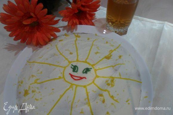 Посыпать апельсиновой или лимонной цедрой. Мой сынуля захотел, чтобы я нарисовала солнышко, так мы с ним и сделали :)