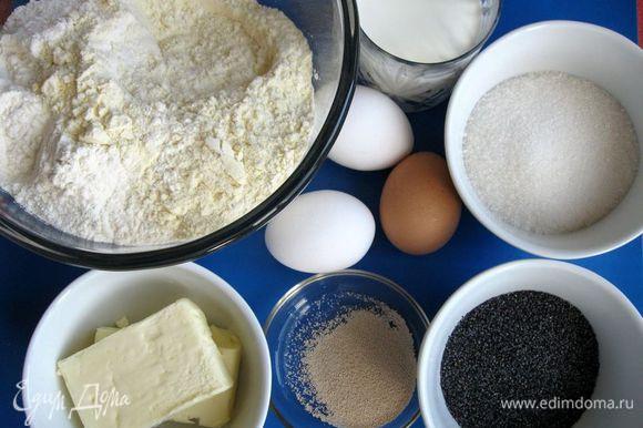 Приготовить все необходимое. Использовала пшеничную муку хлебопекарную высшего сорта (210 г) и муку из твердых сортов пшеницы Semola (300 г). Поставить опару. Часть муки смешать с дрожжами, добавьте немного сахара и часть теплого молока, перемешать и поставьте ее в теплое место для брожения минут на 30 - 40.