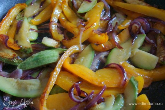 Разогреть сковороду, налить оливковое масло, выложить овощи. Посолить и посыпать смесью перцев. Готовить при закрытой крышке примерно 10-15 минут, иногда перемешивая. Сок должен выпариться, а овощи приобрести золотистую корочку.