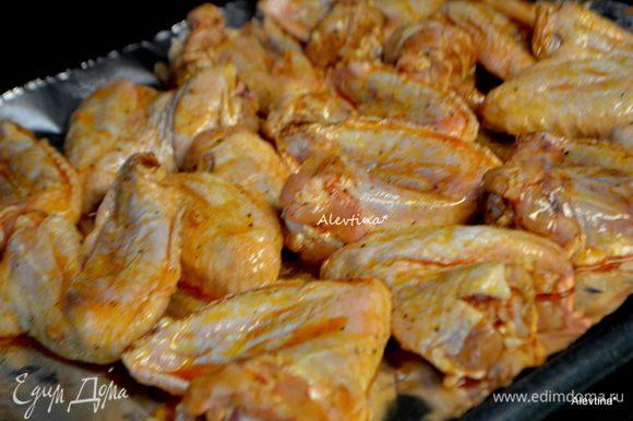 Выложить куриные крылышки на смазанный маслом противень. Поставить его в разогретую духовку на 200 гр.на 1 час, раз перевернув.