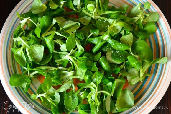 Листья салат вымыть и обсушить. Выложить на сервировочное блюдо.
