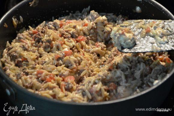Добавить к говядине порезанные томаты баночные в соку или свежие 1 стакан. Готовую пасту орзо и сливочный сыр или рикотту.