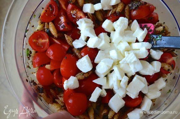 Помидорки черри вымыть и нарезать пополам или четвертинками (всё зависит от размера помидорок) и добавить к пасте вместе с нарезанной маленькими кубиками моцареллой.