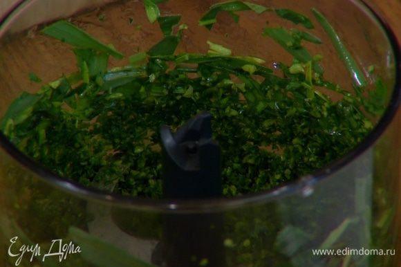 Листья тархуна отделить от грубых стеблей, часть из них отложить, остальные поместить в блендер, влить оливковое масло и измельчить в пюре.