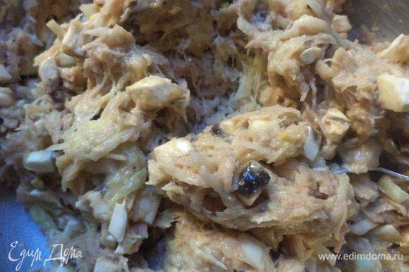 Соединить картофель, кабачок, лук, шампиньоны, чеснок, добавить яйцо, посолить, поперчить, всыпать муку и тщательно перемешать.