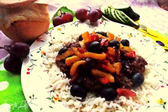 Отварить рис и выложить на него горкой ароматную печёночку! Да, присутствует аромат бальзамика в блюде!