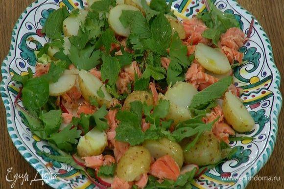 Посыпать салат листьями петрушки, кинзы и мяты, слегка сбрызнуть оливковым маслом и посолить.