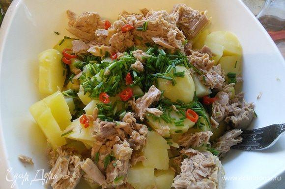В салатницу выложить очищенный и порезанный картофель, горошек и фасоль, мелко порезанный шнит-лук (можно заменить на репчатый или зелёный) и чили. Из тунца слить жидкость, выложить рыбу к овощам и немного размять вилкой.