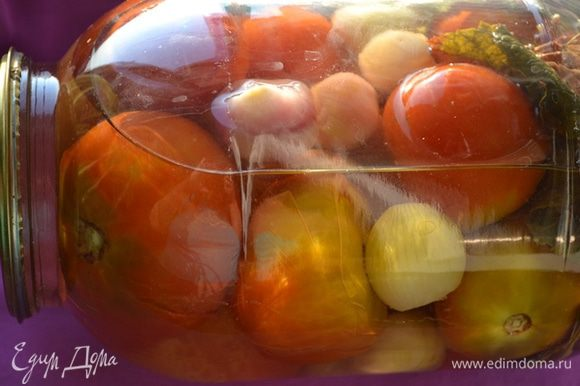Переворачиваем банки, укутываем их одеялом и оставляем остывать на сутки. Очень вкусные луковые томаты порадуют и вас, и ваших гостей!