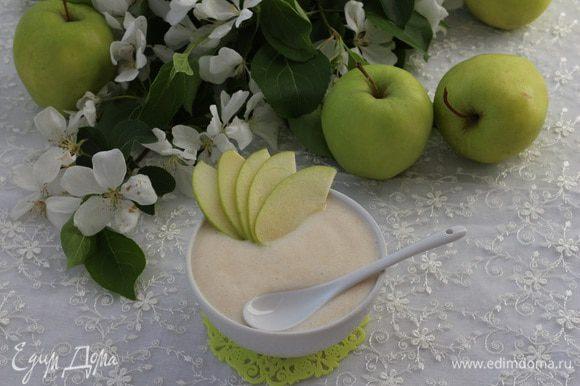 Из оставшегося мусса, можно сделать великолепный десерт для ребенка, дополнив мусс свежими яблоками или клубникой. Моя дочь просто обожает этот мусс, она готова есть его целыми днями!