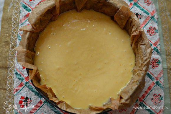 Форму для выпечки (d=24 см) смажьте маслом и присыпьте мукой либо выстелите пекарской бумагой (как у меня). Я предварительно смачиваю бумагу водой и хорошо выжимаю, а затем выкладываю в форму. Так она лучше прилегает к стенкам формы. Затем смажьте слега бумагу маслом и выложите подготовленное тесто.