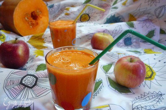 И разливаем по бокалам!!! Такой коктейль рекомендую выпивать до завтрака, тогда день наполняется солнечным и позитивным настроением!!!