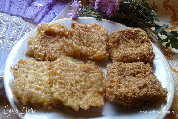 Жарим на разогретом растительном масле до золотистой корочки. Часть вафель я сделала в сухарях, а часть без сухарей (для доченьки).