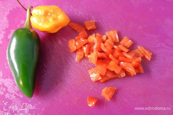 Перец чили помыть, очистить от семян и мелко нарезать. Если любите поострее — семена оставьте.