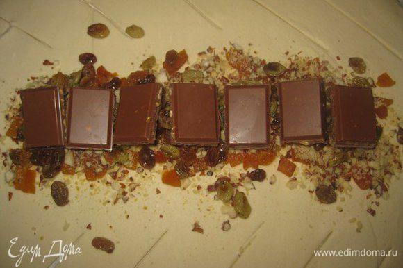 Дальше выложить изюм и шоколад, кусочками. У меня на фото меньше чем 70 грамм (я думала, что будет много), но нет лучше больше.