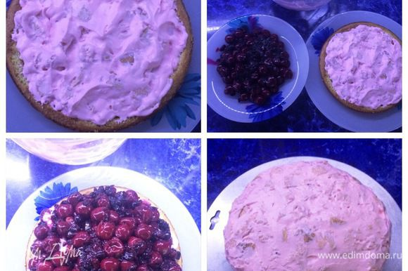 Собираем торт. Зрительно делим бисквит со сливками на 2 части и одной частью наполняем торт. Затем укладываем сверху наши ягоды и покрываем их оставшимся бисквитом. Подравниваем, придаем торту форму, т.к. у меня было очень много ягод.