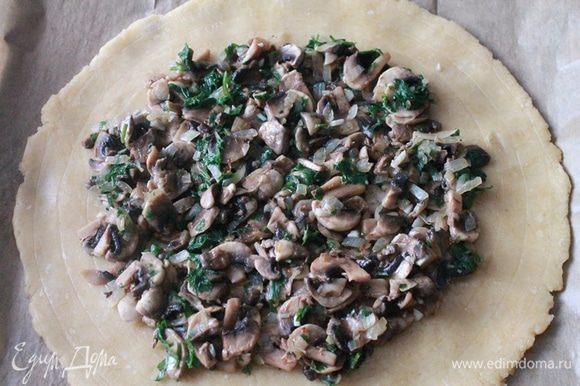 На лепешку, отступая от края см 3, выкладываем начинку из грибов.