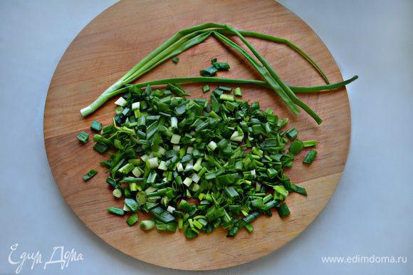 Помойте зеленый лук и мелко порежьте.