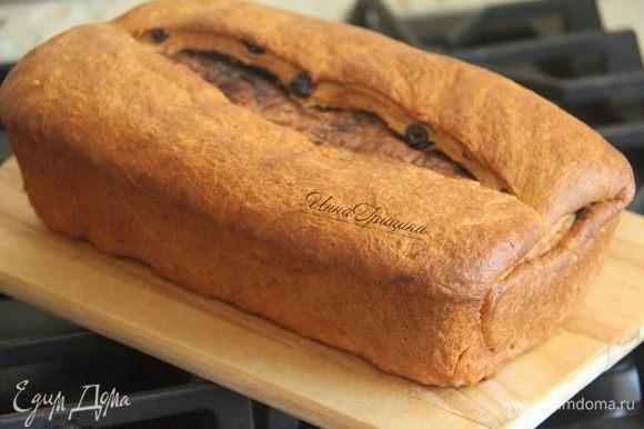 Выпекать примерно 50 минут. Вынуть хлеб из формы, дать полностью остыть.