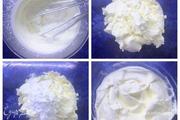 Готовим крем. Взбить сливки. Сливочный сыр взбить с сахарной пудрой и ванильным сахаром. Соединить сливки и сыр, крем готов.