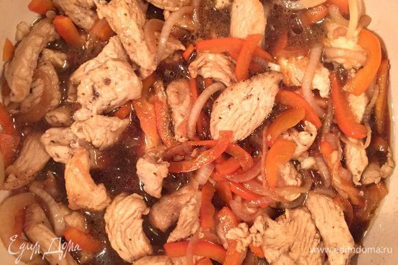 Затем добавить соевый соус. Готовить 15 мин.
