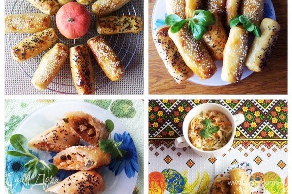 Готовые трубочки немного охлаждаем и подаем к столу со свежими овощами или с квашенной капустой. Очень вкусно! Приятного аппетита!