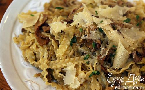 Рецепт Макароны с пореем и грибами