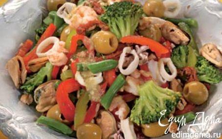Рецепт Салат из морепродуктов с овощами