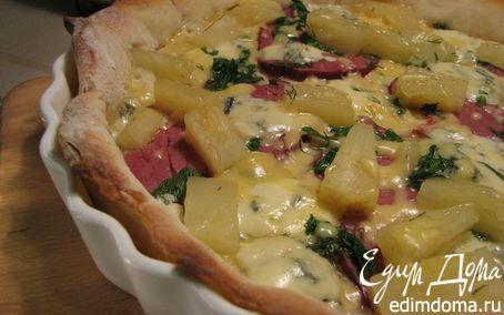 Рецепт Пицца с голубым сыром и ананасами