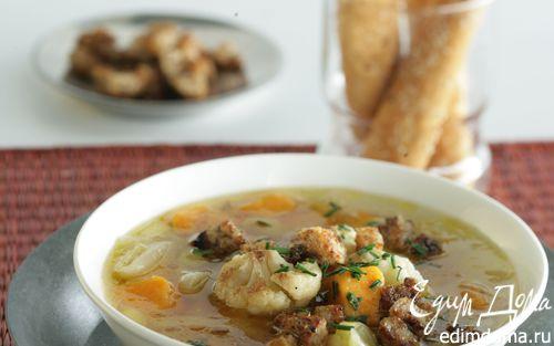 Рецепт Суп из сладкого картофеля-батата, лука-порея и цветной капусты