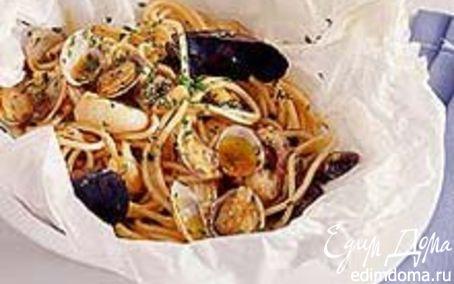 Рецепт Спагетти с морепродуктами в пергаменте