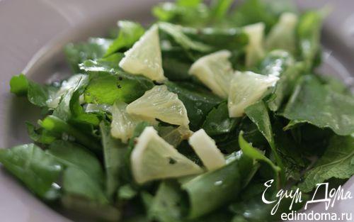 Рецепт Салат из шпината и мяты с лимоном
