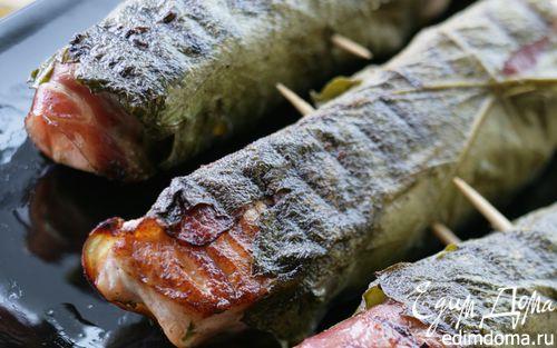 Рецепт Семга в виноградных листьях на гриле