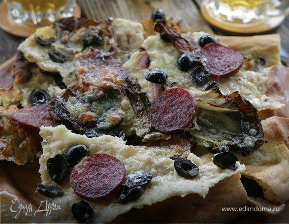 Пицца с моцареллой и ветчиной рецепт с фото